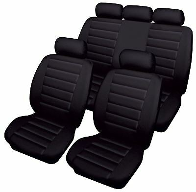 Black Leatherlook Front & Rear Car Seat Covers for Land Rover Defedner 130