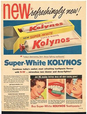 KOLYNOS TOOTHPASTE AD DENTAL ADVERTISING Original 1956 Vintage Print Ad*Retro