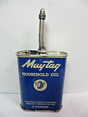 VINTAGE 1940's MAYTAG HOUSEHOLD SEWING MACHINE OIL TIN CAN HANDY OILER LEAD TOP