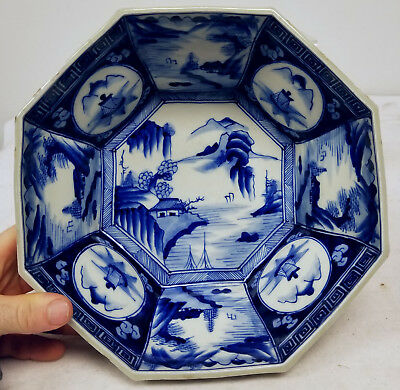Antique Japanese Arita Underglaze BLue and White Large Bowl As Is