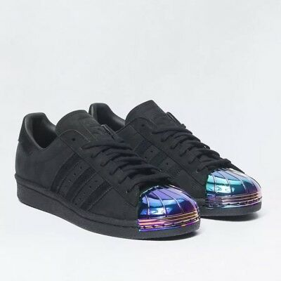 BRAND NEW ADIDAS Superstar 80S Metal Toe Black Blue Trainers EU42 UK size 8