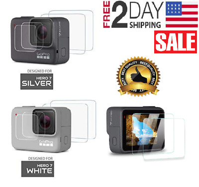 Screen Protector for Gopro Hero 7 White/7 Silver Tempered Glass Screen Lens- 2PC
