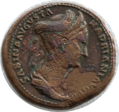 Genuine 17 - 138 AD Hadrian and Sabina Rome Sestertius Bronze Coin