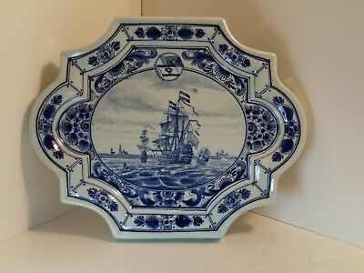 A Vintage hand painted Large Delft Fjell-Orange Line Wall Plaque
