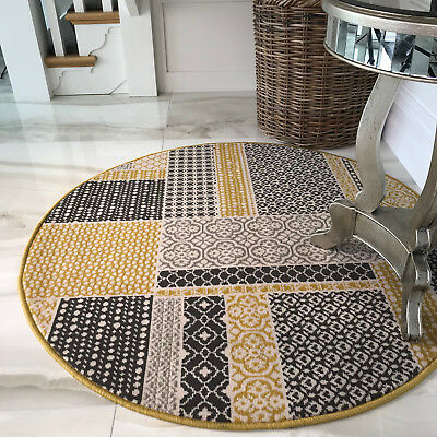 Yellow Patchwork Circle Dining Room Rugs Small Large Ochre Grey Round Area Rugs