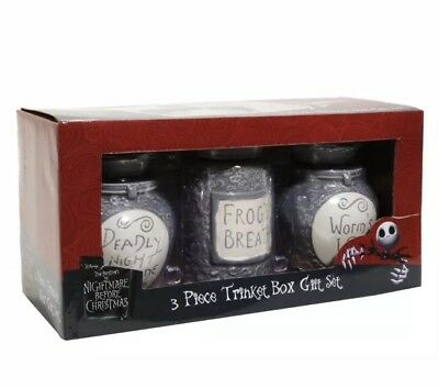 Disney The Nightmare Before Christmas 3 Piece Trinket Box Gift Set New In Box