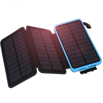 Hiluckey Solar Charger, Power Bank 10000mAh with 3 Panels Waterproof Folding Por