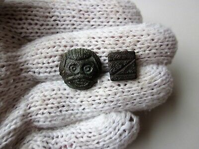 Lot of 2 ancient Roman bronze embossed and engraved weights.