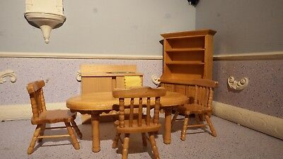 dolls house pine small kitchen table/3x chairs/sink/welsh dresser  1.12th k