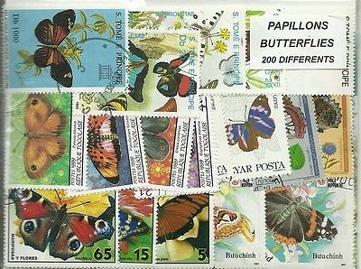 """Lot 200 timbres thematique """"papillons"""""""