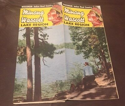 VINTAGE 1950's MINONG WASCOT  WISCONSIN LAKES REGION BROCHURE MAP