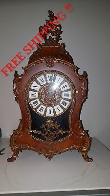 0146-  Boulle style  Hermle mantle clock - walnut and bronze - Louis XV