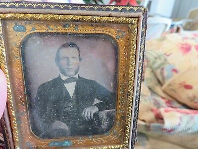 2 Antique Ambrotype Framed Photographs One looks like Abraham Lincoln