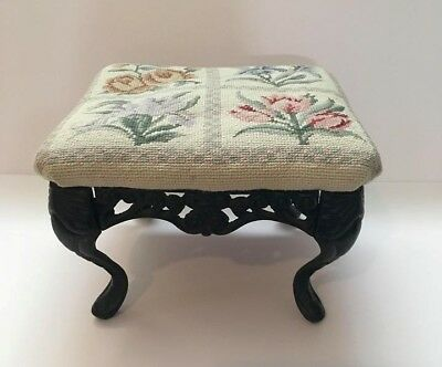 Vintage Victorian Style Cast Iron Footstool Ottoman Foot Stepping Stool