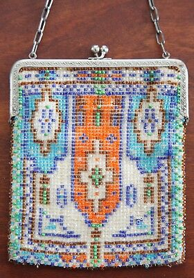 Beautiful Vintage 1920's Flapper Beaded Handbag-Antique Art Deco Metal Frame
