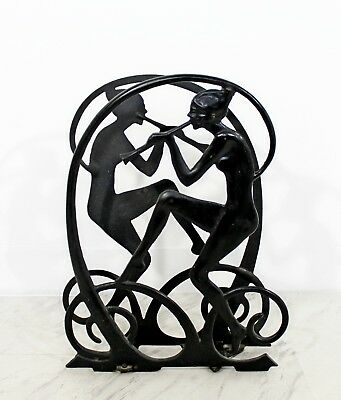 Art Deco Black Wrought Iron Nymphs Magazine Holder 1930s