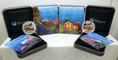 Lot of 2-2010 .50¢ 1/2oz Silver Proof Coin's Australian Sea Life Reef Perth Mint
