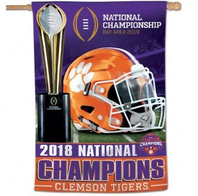 2018 Clemson Tigers National Champions Double Sided 28x40 Banner Flag