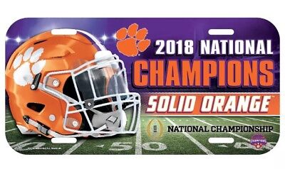 2018 Clemson Tigers National Champions Plastic License Plate