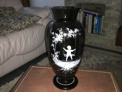 Antique MARY GREGORY BOY ON SWING C1890 HUGE Amethyst Glass Vase HAND enamelled