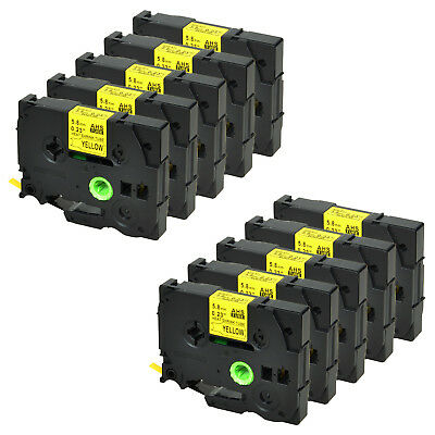 10PK for Brother HSe611 Black on Yellow Heat Shrink Tube Label Tape 5.8mm PTE300
