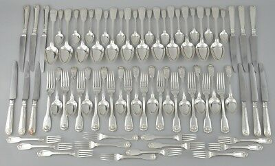 FIDDLE THREAD & SHELL Design SHEFFIELD Silver Service cutlery - 12 place setting