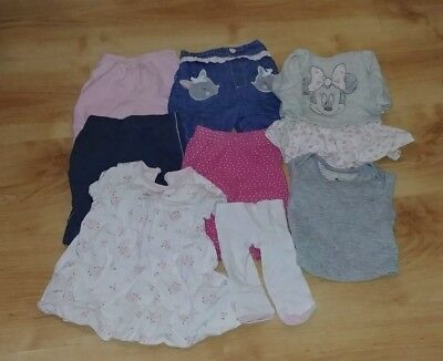 baby girl 8 piece newborn bundle with trousers and shirts in good condition
