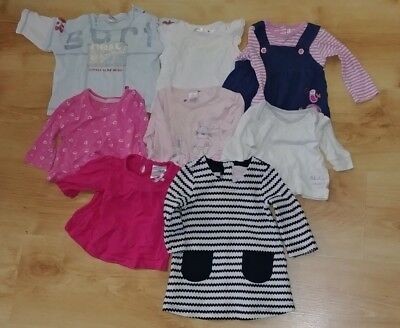 Baby Girl's 8 piece 0-3 months shirts and dress bundle in good condition