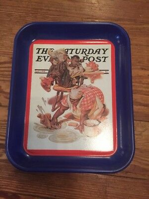 The Saturday Evening Post SCRUBBING THE FLOOR Metal Tray