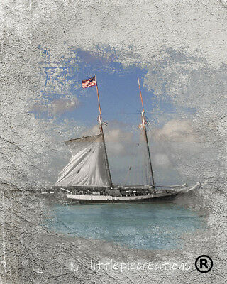 Rustic Sailboat Blue Gray Coastal Theme Home Decor Matted Wall Art Picture