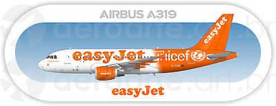 Airbus A319 easyJet aircraft profile sticker