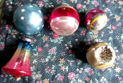 Lot of 5 Vintage Shiny Brite ,Assorted Glass Christmas Ornaments