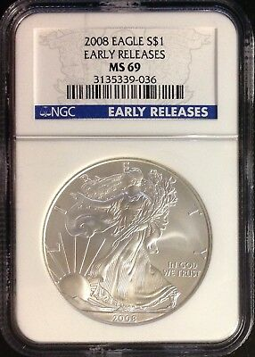 "2008 $1 (1oz) American Silver Eagle - NGC MS69 ""Early Releases"""