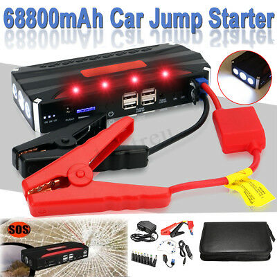 68800mAh Vehicle Car Jump Starter Booster 4USB Battery Power Bank Charger 12V !