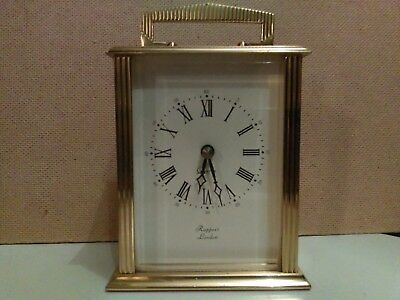 A Vintage Atractive Heavy Quality Brass Quartz Carriage Clock By Rapport London