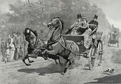 HORSE Coaching, Runaway Horse Carriage, Huge Double-Folio 1880s Antique Print
