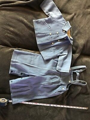 Galey & Lord Baby Boy 2pc Blue Gabardine Suit And Jacket. 12-18 Months