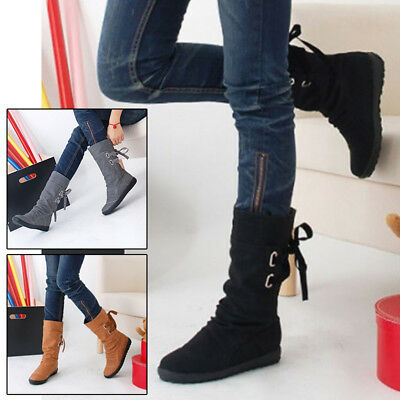Buckle Boots Shoes Women Ladies Faux Leather Lace-up Flat