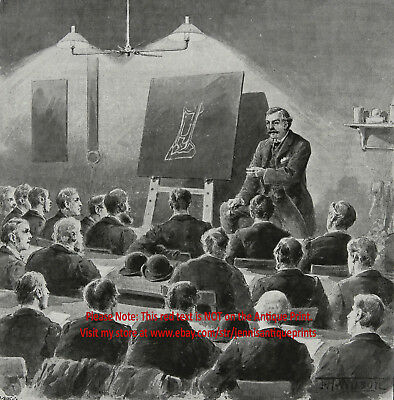 Veterinary Lecture on Horse Lameness Morley College, Large 1890s Antique Print