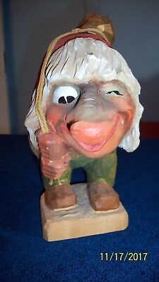"""Henning Norway Norwegian Hand Carved Wood Troll with Gold Nugget on Back-8"""" Tall"""