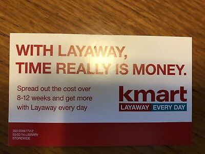 K-Mart New Never Displayed Layaway Sign 3x5(inches)