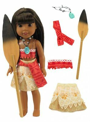 Moana Halloween Outfit for 14 in Wellie Wishers Doll American Girl Clothes
