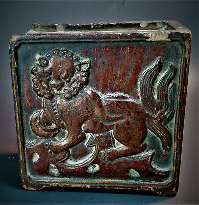 Chinese Antique Carved Wooden Temple Foo Dog Spice Box Tibetan Asian Primitive