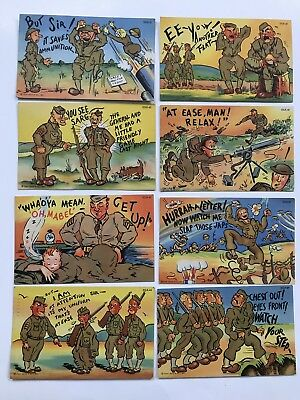 8 Curt Teich Army Comic Series Wwii Military 1940's Linen Postcard Usa41-48