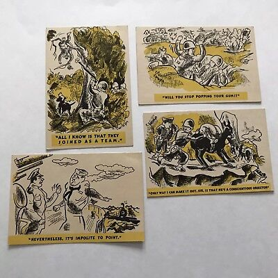 Lot Of 4 Artist Signed Wwii Military Comic Postcards