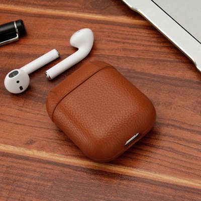 For Apple AirPod Airpods Luxury Genuine Leather Earphone Protective Case Cover