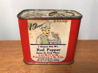 Vintage Lushus Lush Us Red Pepper Spice Tin Can Chicago IL
