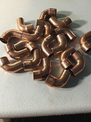 "1/2"" Copper Street 90 Degree Elbow Sweat Solder Pressure Fitting  Lot of 19"