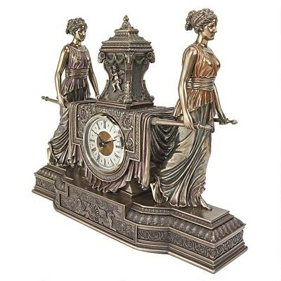 French Inspired Maiden Woman of Versaille Sculpture Clock Antique Replica