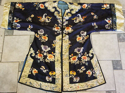 Antique Chinese Embroidered Embroidery Silk Robe FLowers Butterflies Melons